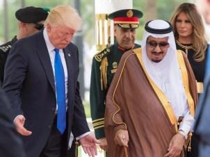 Saudi Arabia's King Salman bin Abdulaziz Al Saud welcoming US President Donald J. Trump and US first lady Melania Trump, at the Royal Terminal of King Khalid International Airport.