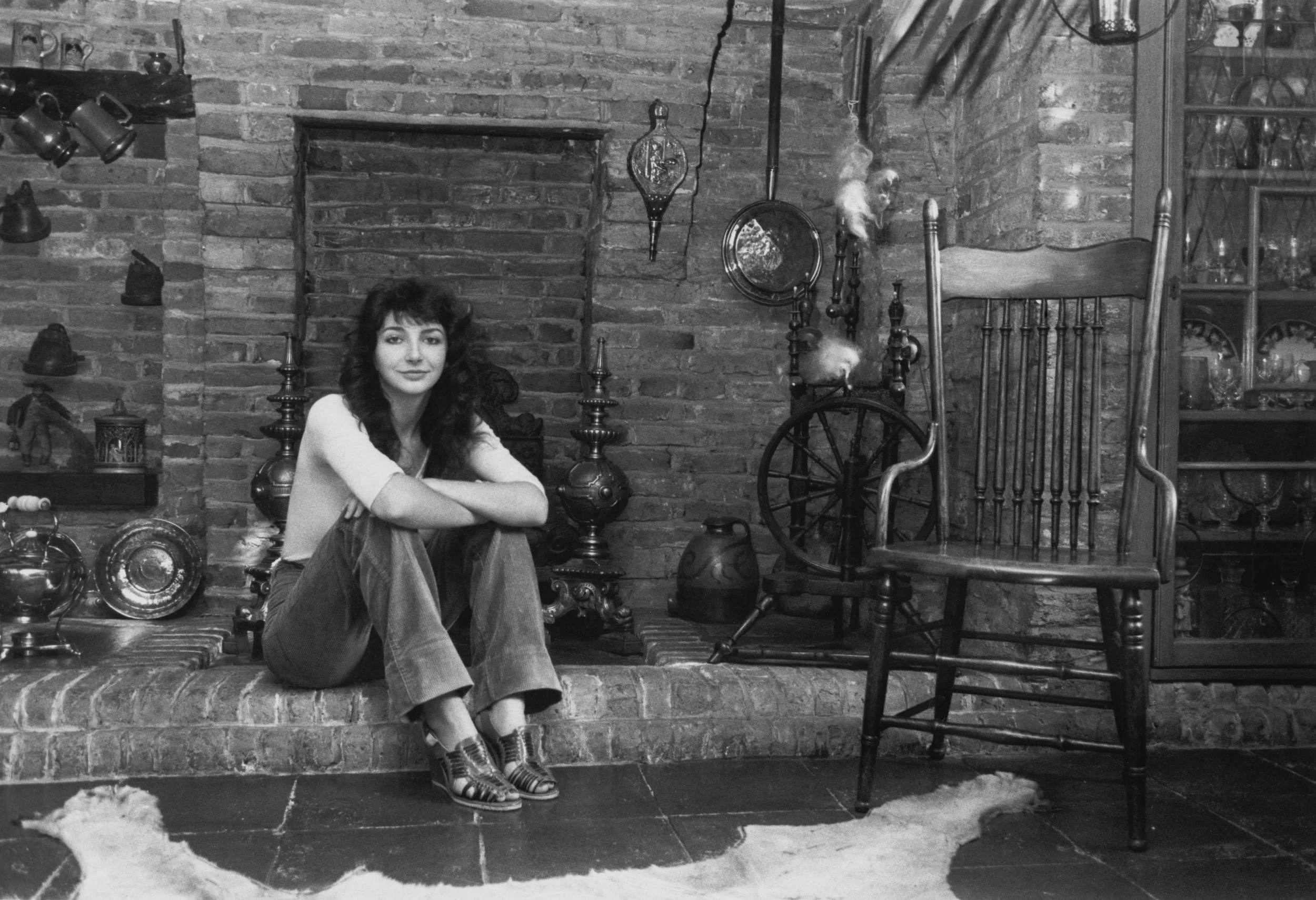 Kate Bush poses in her home in September 1978, the year her hit song 'Wuthering Heights' was released
