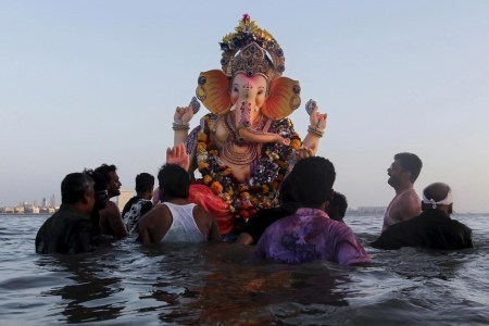 Ganesh Chaturthi  What is the Hindu festival celebrating the     Devotees carry an idol of the Hindu elephant god Ganesha  the deity of  prosperity
