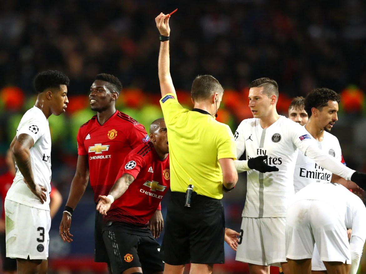 Image result for man u vs psg pogbas red card