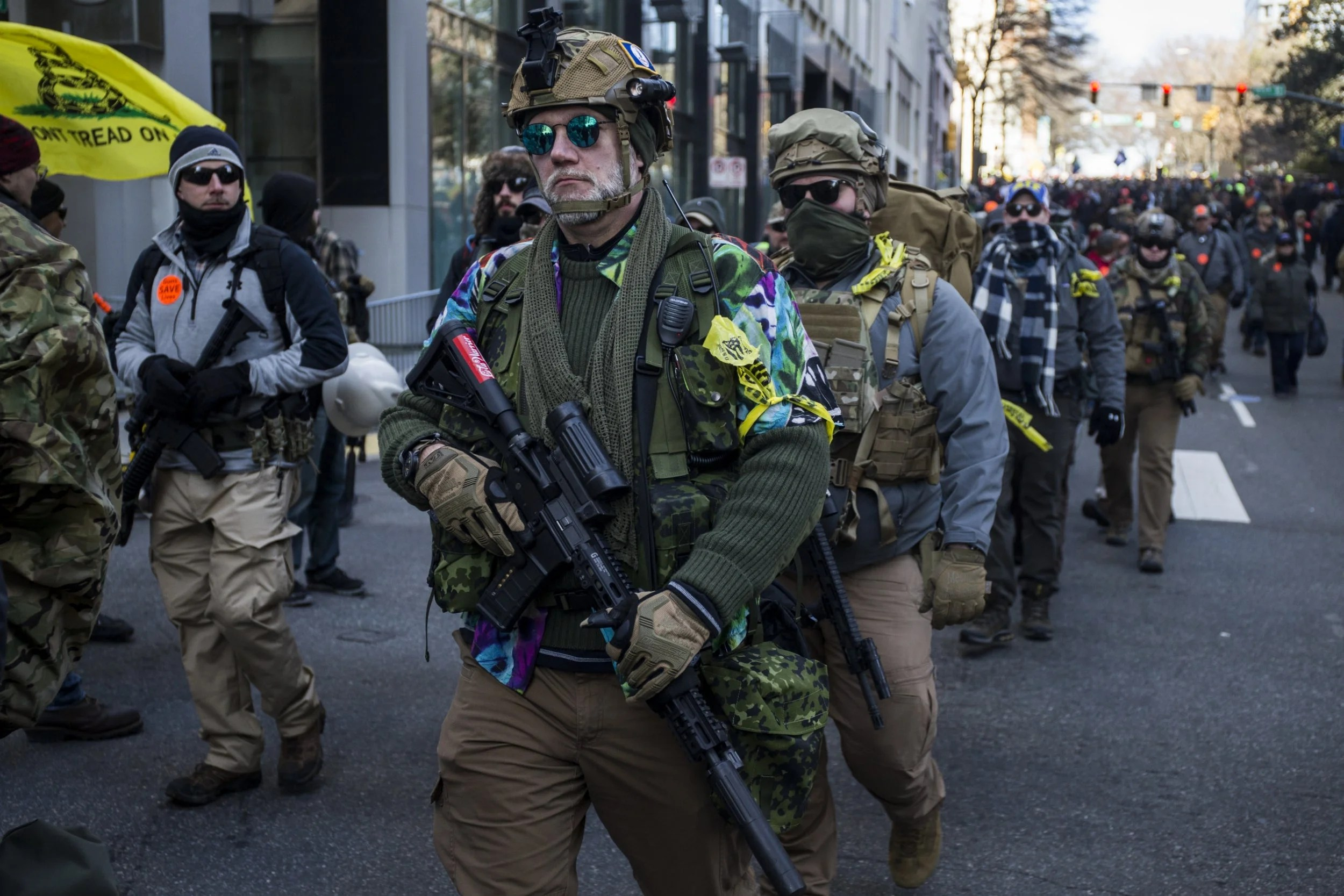 Weapons rally: tense protests and plenty of ammunition for Trump in Virginia