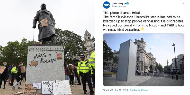 Right wingers are furious that this Churchill statue has been boarded up,  but it's not the first time | indy100