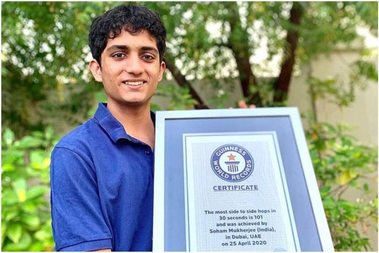 Indian teen Hops Across Ruler 101 Times in 30 Seconds in UAE makes Guinness world record | Soochna