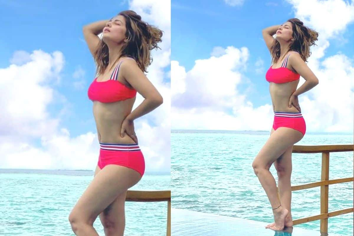 Hina Khan Slays in a Red Bikini in The Maldives, Poses Like a True Stunner