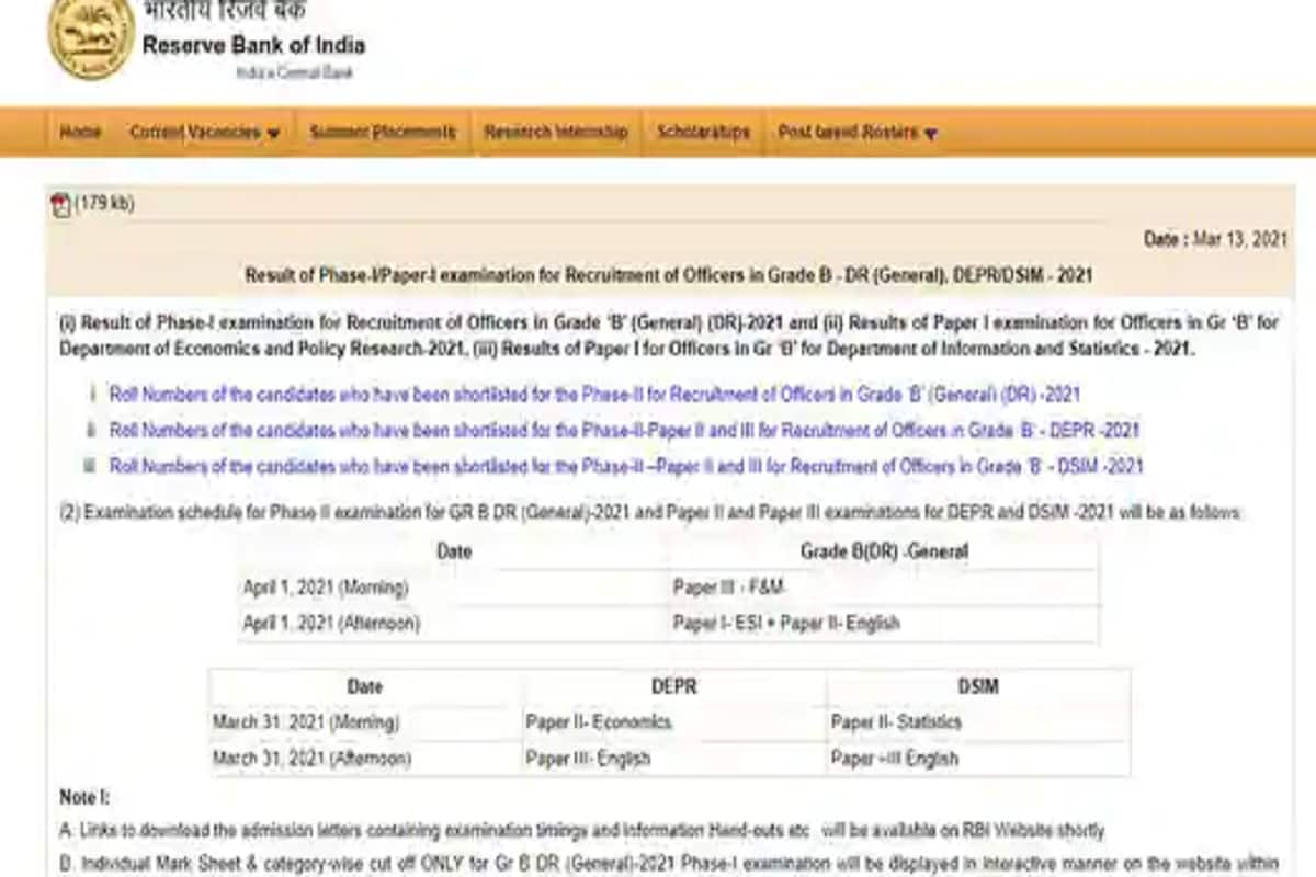 RBI Grade B Phase I Results 2021 Announced, Direct Link to Check Score on rbi.org.in
