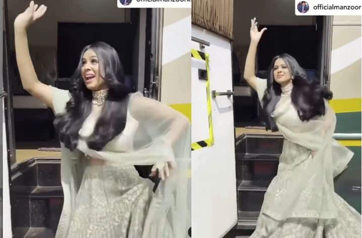 Nia Sharma Grooves to Bajre Da Sitta in Sexy Grey Lehenga, Watch Her Desi Moves