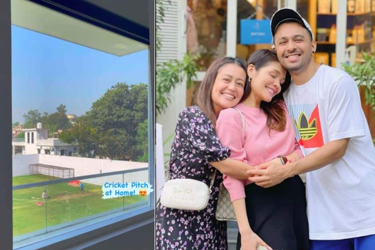 Neha Kakkar Surprises Tony Kakkar by Getting Cricket Pitch Made at Home – Watch Video