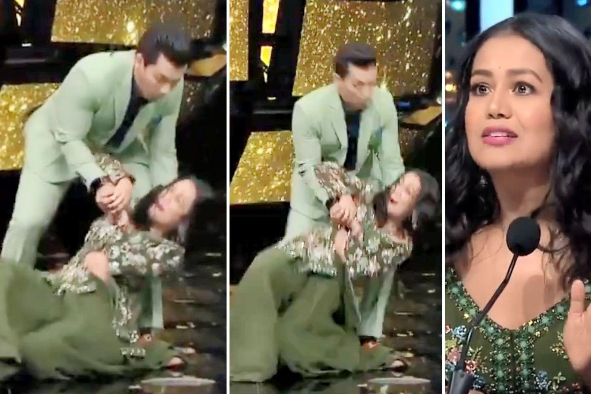Indian Idol: Neha Kakkar Falls Down on Stage While Dancing With Aditya Narayan