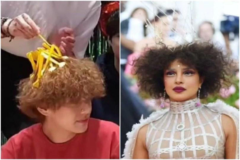 BTS V Hairstyle Reminds ARMY Of Priyanka Chopra MET Gala Look, Floods Twitter With Hilarious Memes