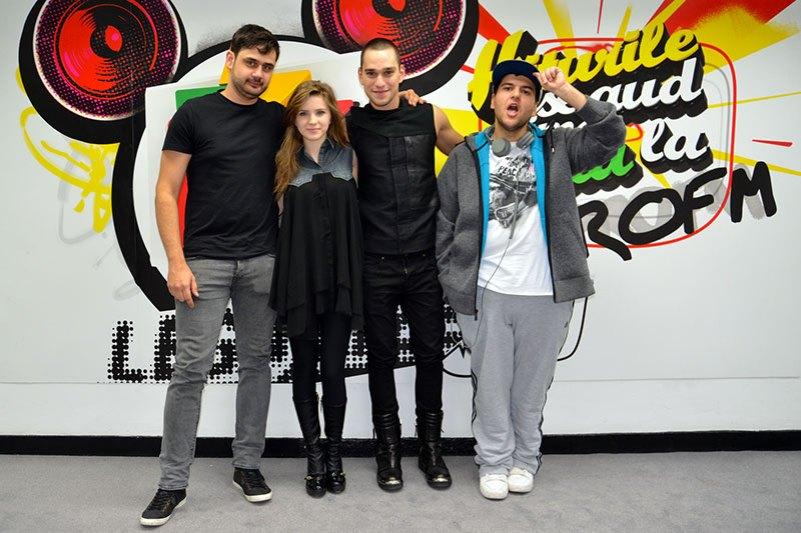 Criss și Vlad (trupa One) alături de realizatorii matinalului Alarma ProFM - Gicu și Nicolai