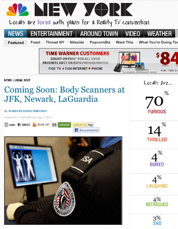 More than 70% 'furious' at arrival of NYC body scanners