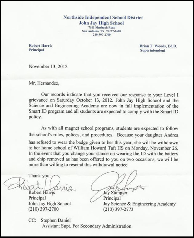 Letter from John Jay High School withdrawing Andrea Hernandez for not submitting to the RFID tracking ID badges.