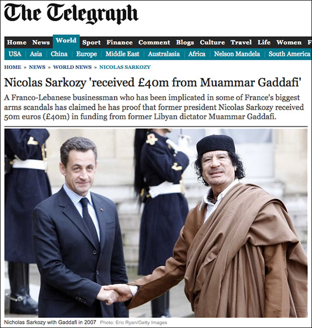 Gaddafi funded French president Sarkozy's campaign before France joined effort to invade Libya and kill Sarkozy's benefactor.