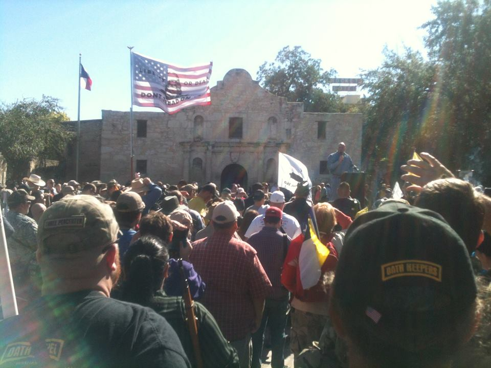 A speaker address the crowd of open carry advocates directly in front of the Alamo / image via Come and Take it San Antonio Facebook.