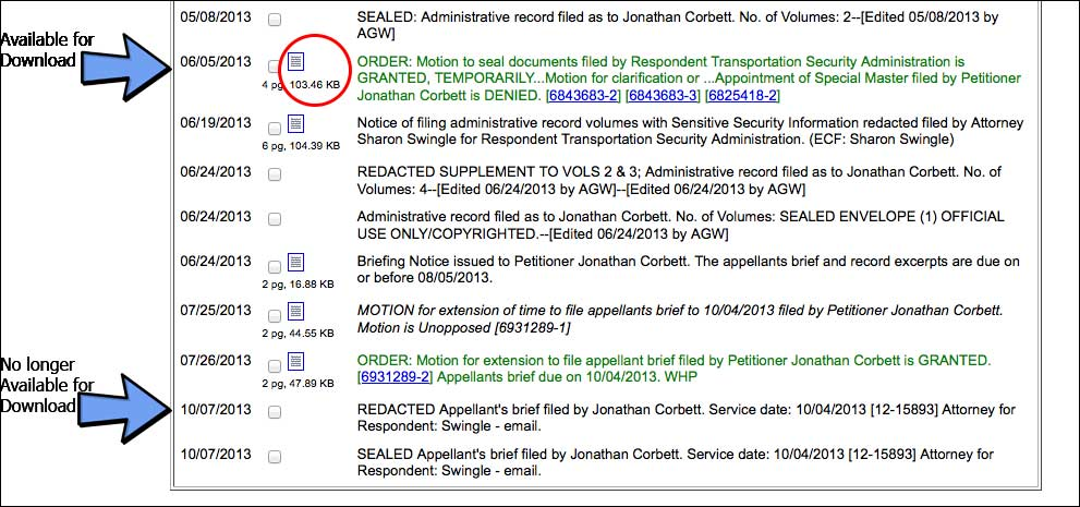 Even the redacted version of Corbett's brief, which should be a public document, has been removed.