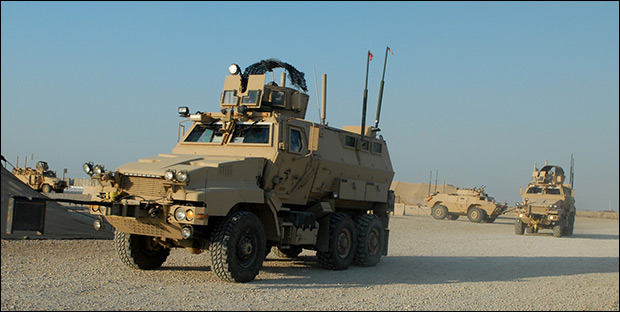 The only difference between these military Mine Resistant Ambush Protected vehicles and the ones given to police is the color.