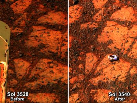 Images captured by Opportunity show the mysterious rock 'appeared' on an outcrop that had been empty just 12 Martian days ('Sols') earlier