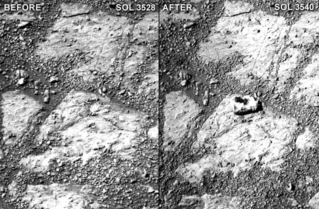 """A comparison of two raw Pancam photographs from sols 3528 and 3540 of Opportunity's mission (a sol is a Martian day). Notice the """"jelly doughnut""""-sized rock in the center of the photograph to the right. Minor adjustments for brightness and contrast."""
