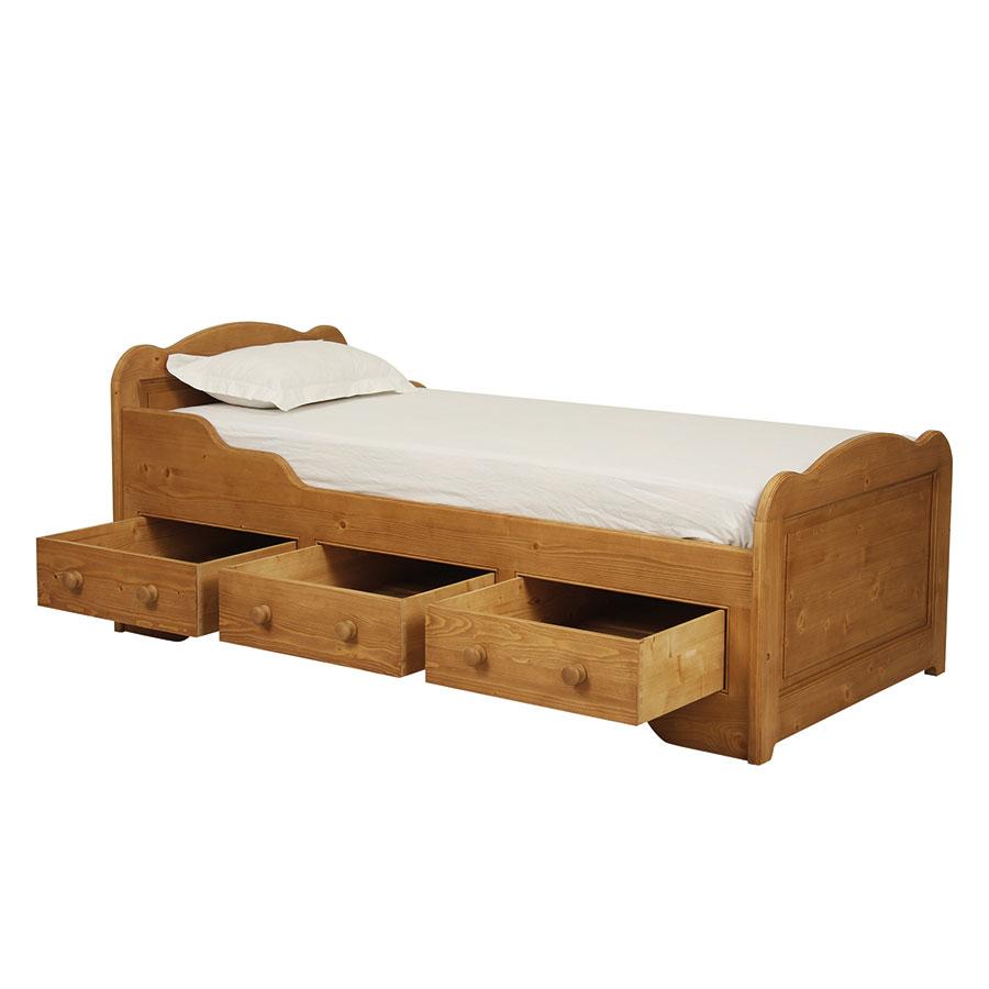 lit enfant 90x190 avec tiroirs en epicea naturel cire natural