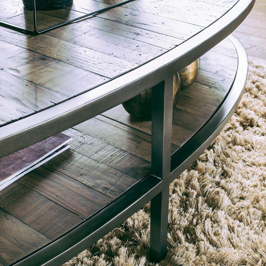 table basse ovale industrielle en bois recycle empreintes