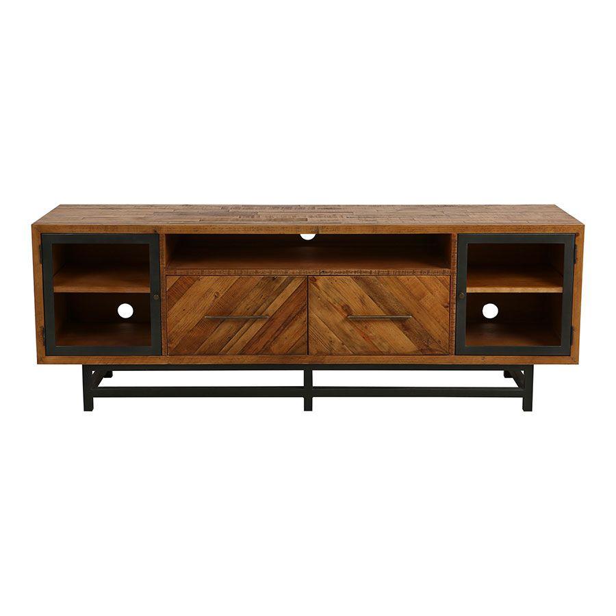 meuble tv industriel en bois recycle empreintes