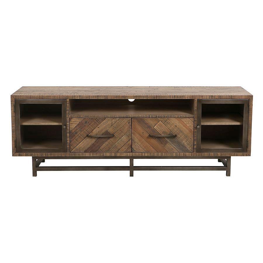 meuble tv industriel en bois recycle naturel grise empreintes