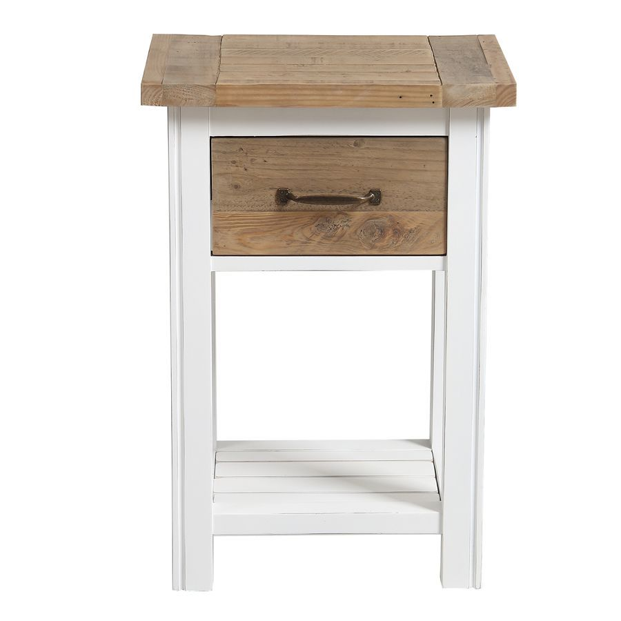 table de chevet en bois recycle blanc rivages