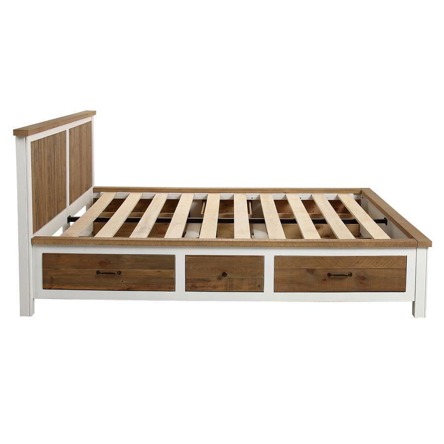 lit 180x200 blanc avec tiroirs rivages