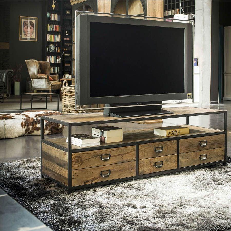meuble tv industriel avec rangements manufacture