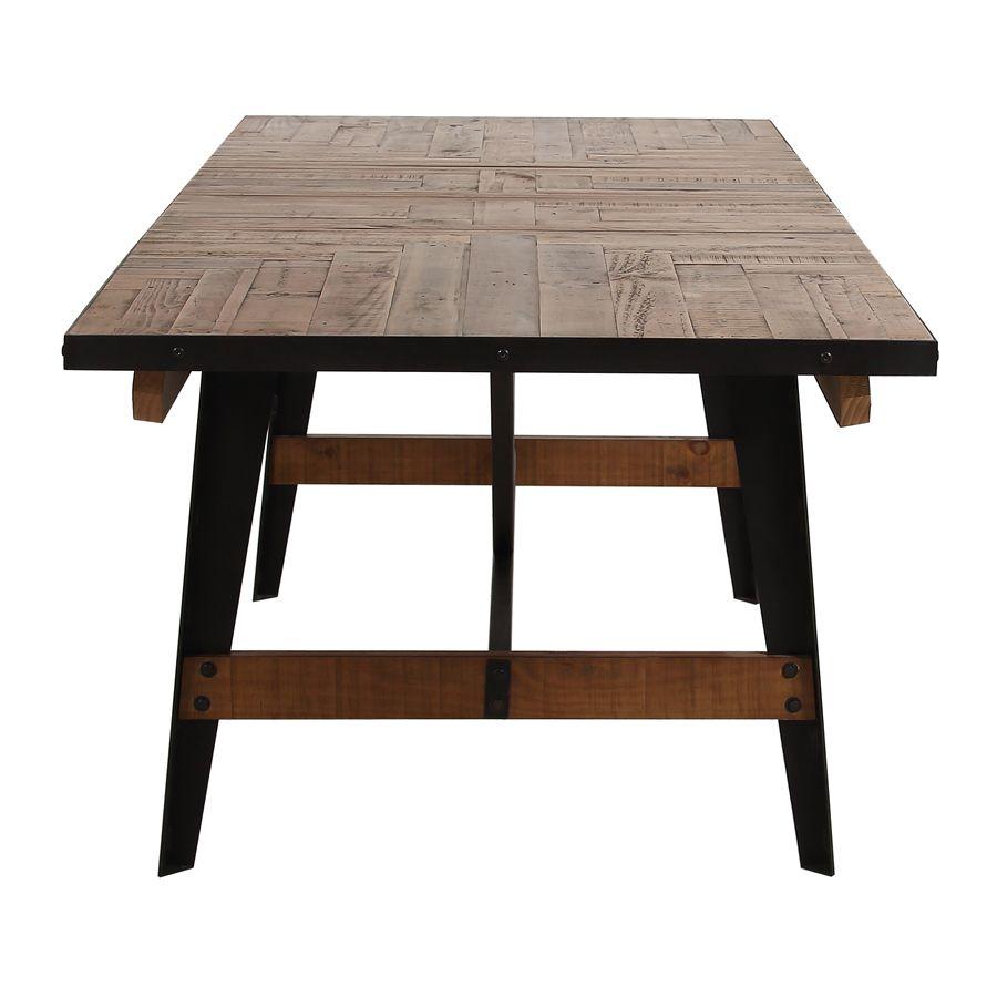 table rectangulaire extensible industrielle en bois recycle et metal manufacture