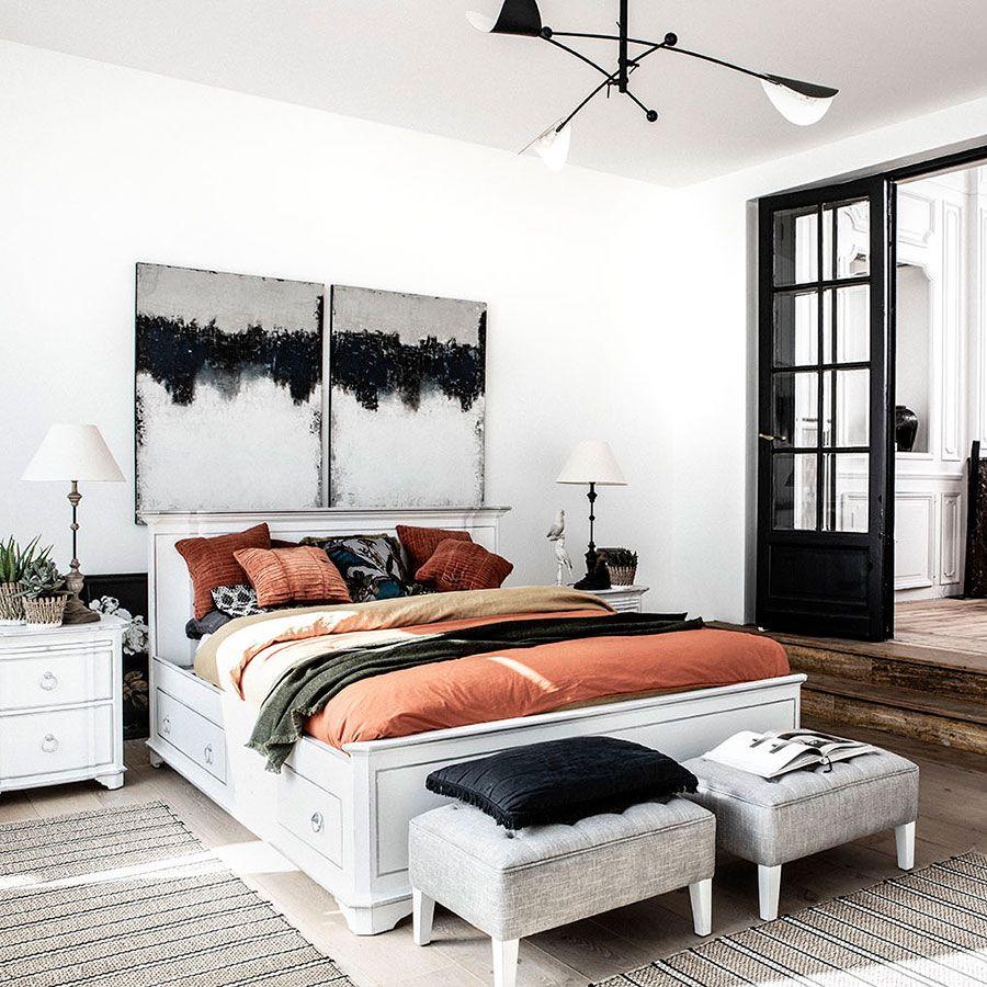 lit 160x200 avec tiroirs en bois blanc satine monceau