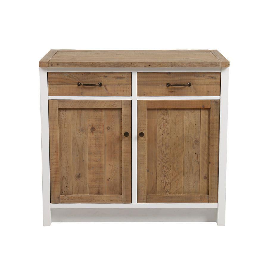 meuble de cuisine bas 2 portes 2 tiroirs en bois recycle blanc rivages