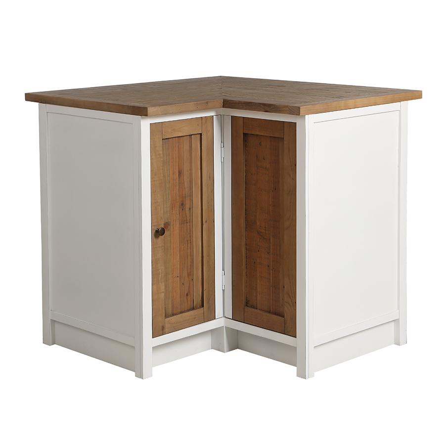 meuble de cuisine bas d angle en bois recycle blanc rivages