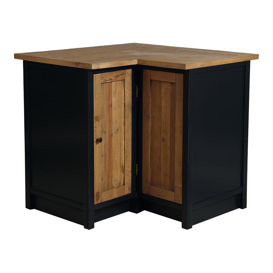 meuble de cuisine bas d angle en bois recycle bleu navy rivages