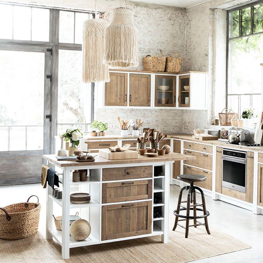 meuble de cuisine haut d angle 2 portes vitrees en bois recycle blanc rivages