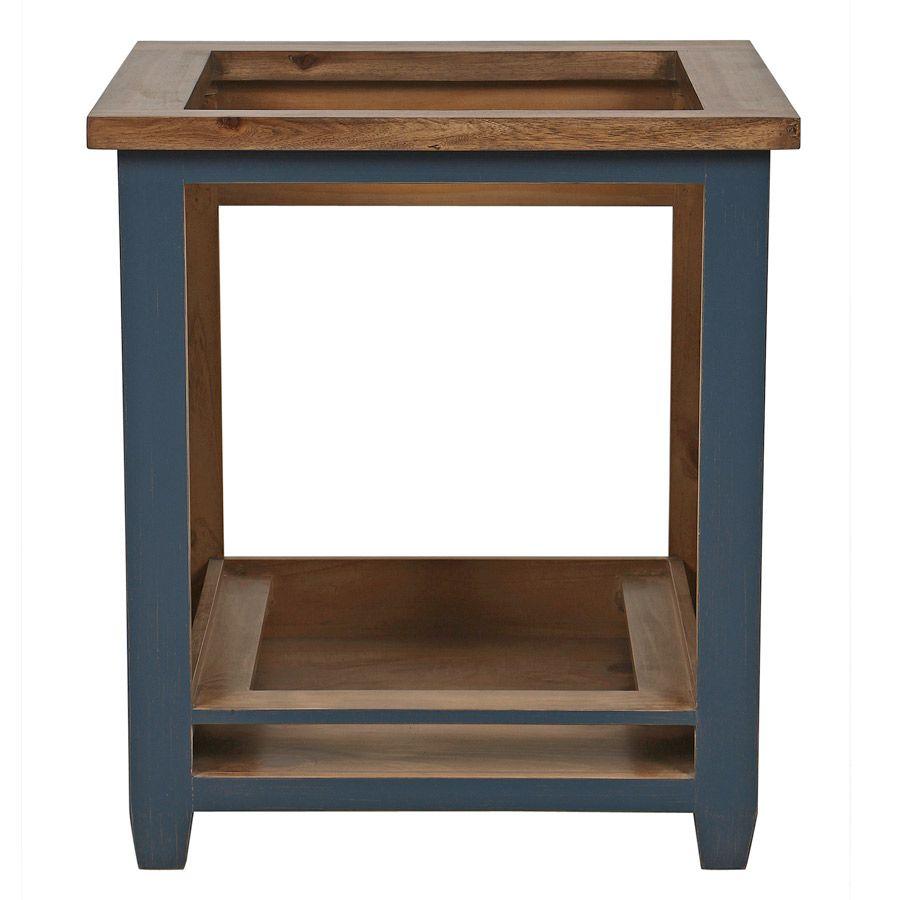 meuble bas de cuisine pour four et plaque en pin bleu grise brocante
