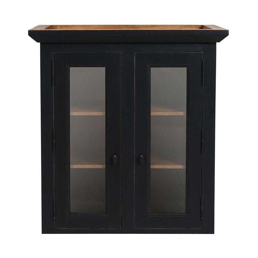 haut de buffet vaisselier 2 portes vitrees en pin noir graphite brocante