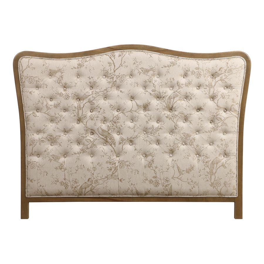 tete de lit capitonnee 140 160 cm en chene et tissu paradisier josephine