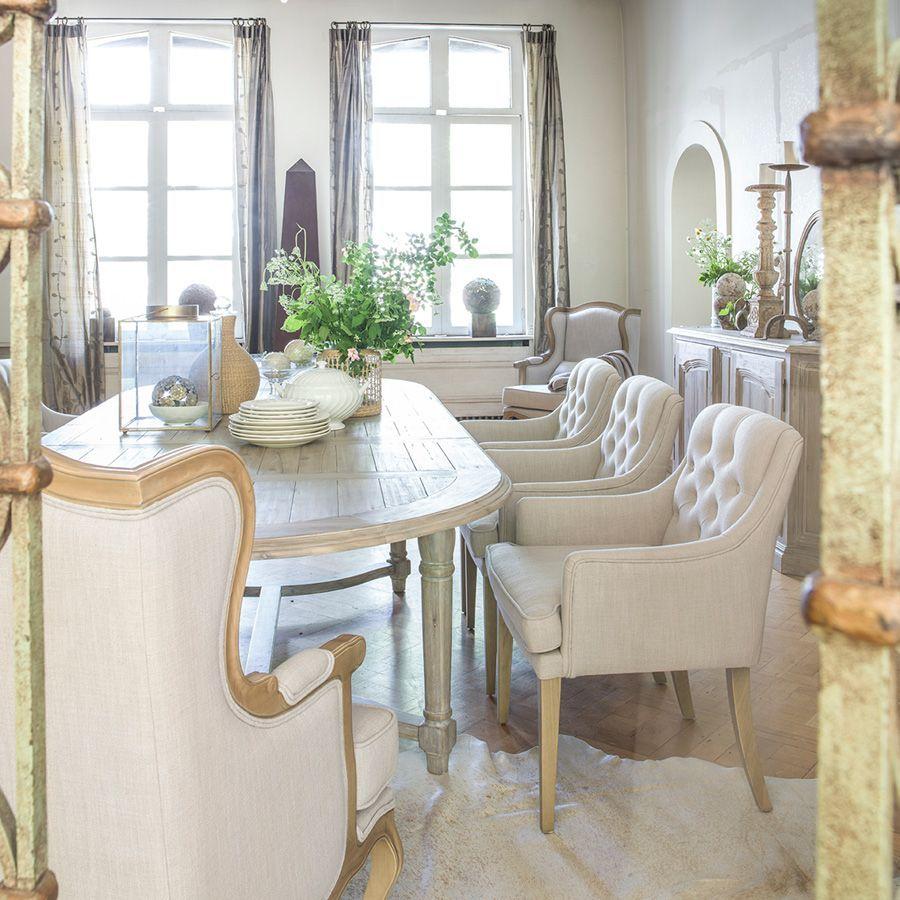 fauteuil de table en tissu lin beige joseph