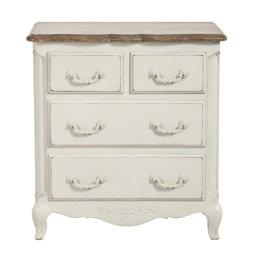 commode 4 tiroirs en pin blanc vieilli chateau