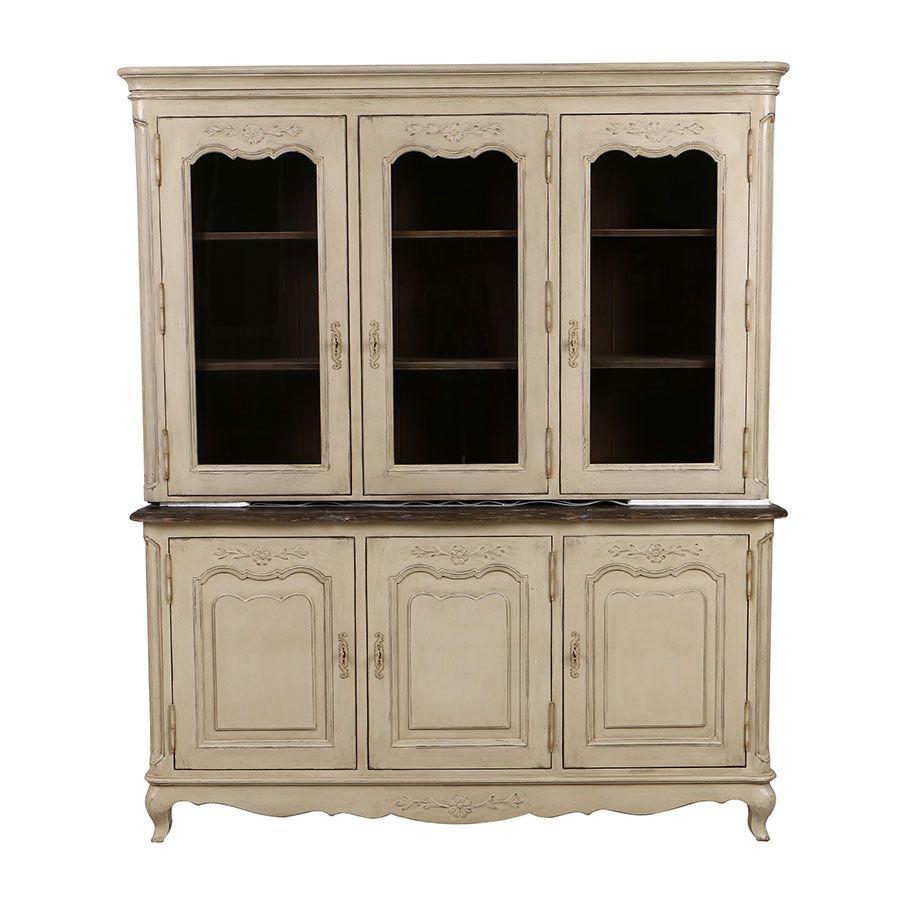buffet vaisselier 3 portes vitrees en pin chateau