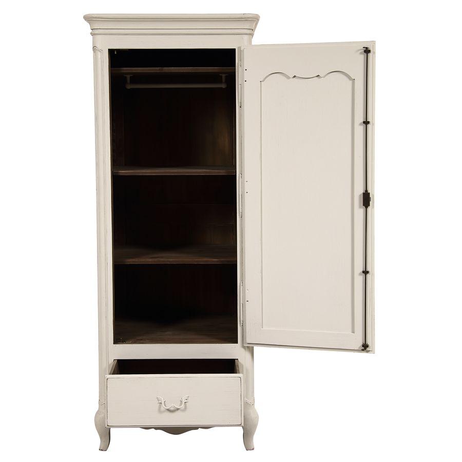 armoire penderie bonnetiere 1 porte en pin blanc vieilli chateau