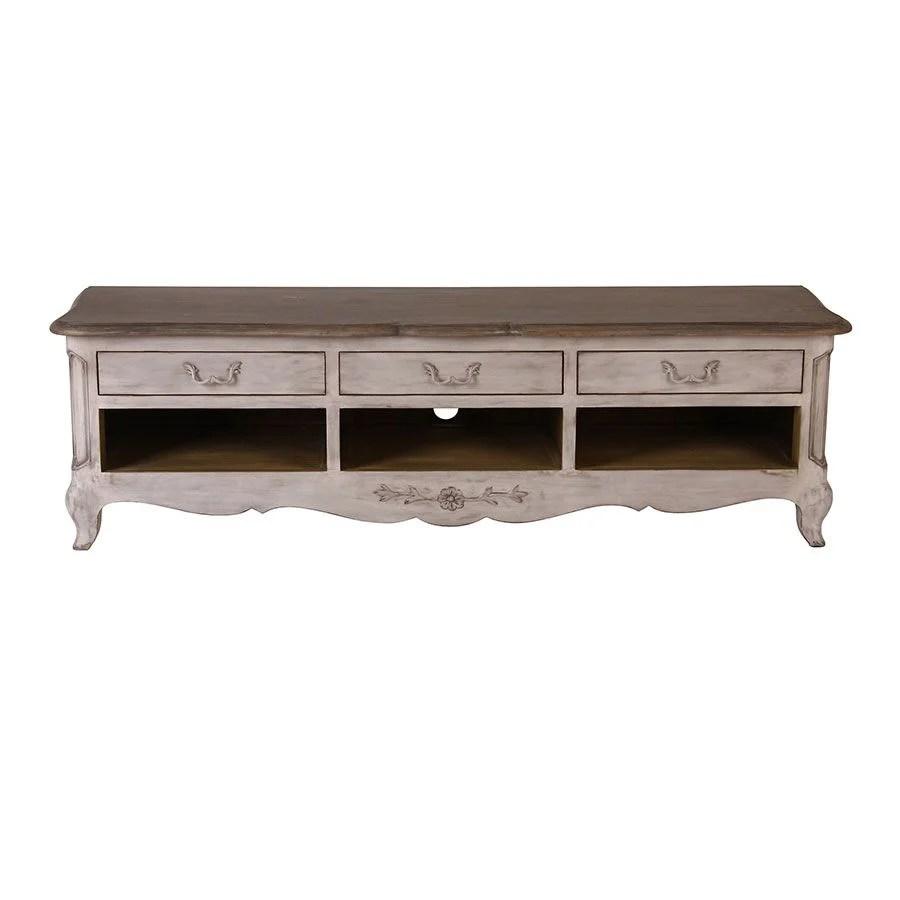 meuble tv gris 3 tiroirs en pin massif chateau