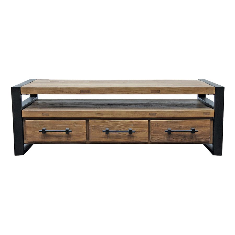meuble tv industriel 3 tiroirs en orme recycle transition