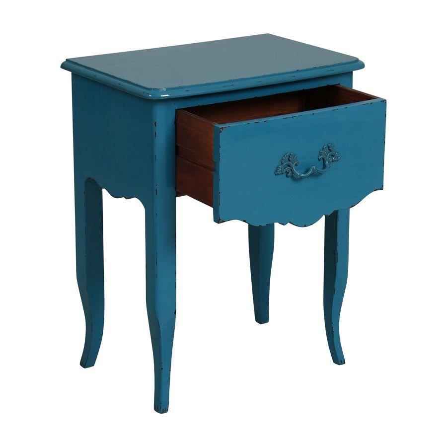 table de chevet bleue 1 tiroir en epicea