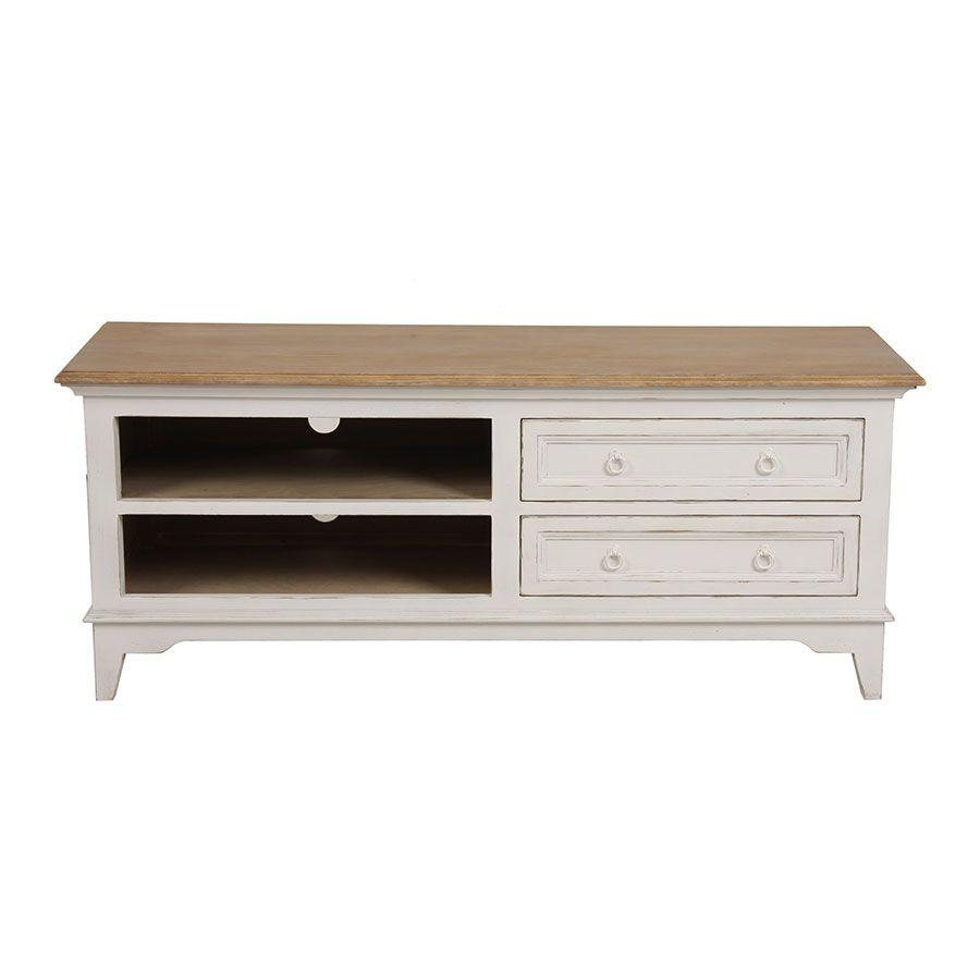 meuble tv blanc 2 tiroirs en pin massif esquisse