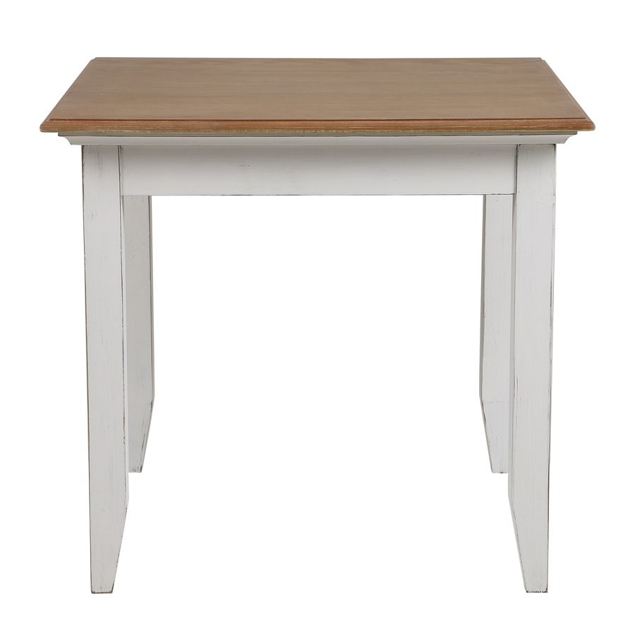 table carree en pin blanc vieilli 4 personnes esquisse