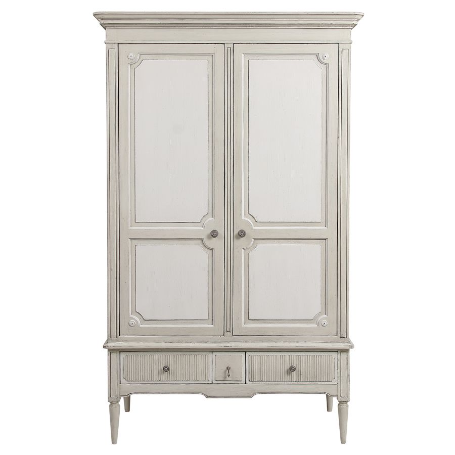 armoire penderie 2 portes 3 tiroirs en pin blanc craie montaigne