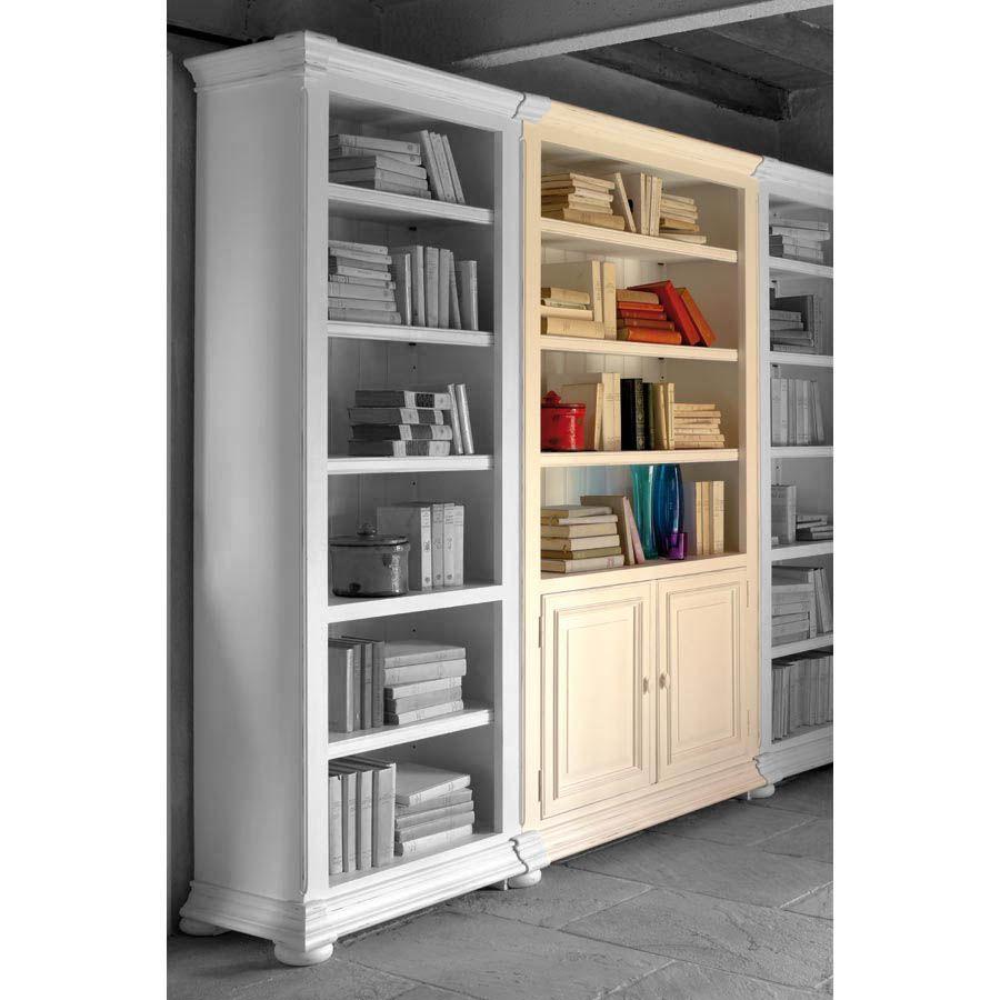 bibliotheque modulable en bois blanc 2 portes harmonie