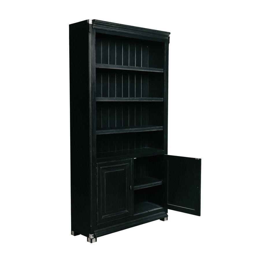 bibliotheque modulable en bois noir 2 portes harmonie
